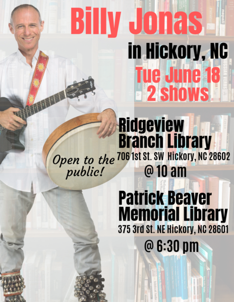 Billy Jonas performing for the Hickory Library System